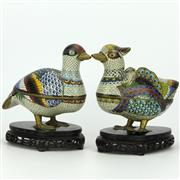 Sale 8342 - Lot 19 - Cloisonne Pair of Mandarin Ducks