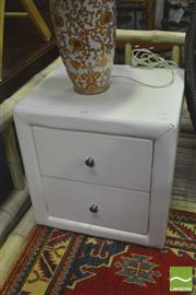Sale 8392 - Lot 1044 - Pair of White Leatherette Bedsides with Two Drawers