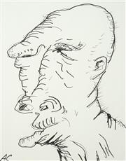 Sale 8597 - Lot 533 - Adam Cullen (1965 - 2012) - Untitled (Portrait of Man) 32 x 25cm