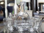 Sale 8709 - Lot 1050 - William Yeoward water carafe together with a set of eight bodum tumblers, Height of decanter 26cm