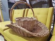 Sale 8934 - Lot 1047 - Large Cane Basket & Another Smaller Example (2)