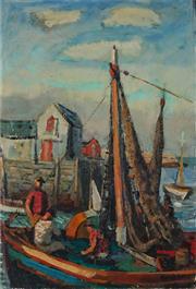 Sale 8947 - Lot 504 - Gerrit Hondius (1891 - 1970) - At the Boat Shacks 47.5 x 32.5 cm (frame: 70 x 54 x 6 cm)