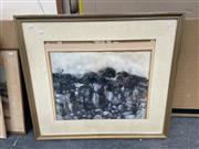 Sale 9028 - Lot 2080 - John Caldwell Rockface, mixed media on canvas (slipped in frame), frame: 77 x 87 cm , signed lower right -