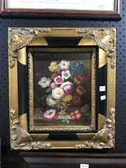 Sale 9045 - Lot 2094 - Artist Unknown - Still Life Flowers, oil, 23.5x19cm frame 39x34cm