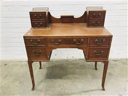 Sale 9097 - Lot 1099 - Edwardian Dressing Table Base Converted to Desk, with two raised cabinets having two drawers each, a brown leather top & five drawer...