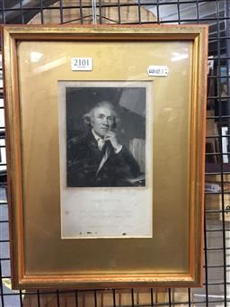 Sale 9147 - Lot 2066 - An engraving of John Hunter by W. Holl, based on the painting by Joshua Reynolds, frame: 33 x 24 cm -