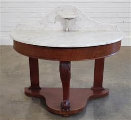 Sale 9196 - Lot 1097 - Victorian Demi-Lune Washstand, the white marble top with shelf, on carved cabriole leg & shaped plinth base (h:92 x w:103 x d:53cm)