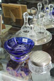 Sale 8327 - Lot 26 - English Hallmarked Sterling Silver Lid, Silver Plated Condiment Set & a Blue Glass Dish (Weight - 38cm)
