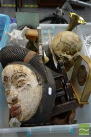 Sale 8495 - Lot 2099 - Box of Sundries incl Mask from Gabon, Wooden Bookends, Cups, Bugle etc