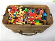 Sale 8559A - Lot 81 - Lot of McDonalds Collectable toys and other toys incl. Yellow Truck, in Leather Doctors Bag.