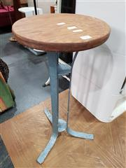 Sale 8745 - Lot 1043 - Timber Top Side Table (H: 58 Dia Top: 27cm)