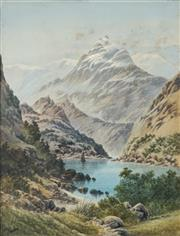 Sale 8821 - Lot 586 - Tom Peerless (Late C19th) - Lake Meriniporiki, South Island, New Zealand 51.5 x 37.5cm