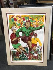 Sale 8819 - Lot 2119 - Rugby Union Ltd Print 14/14 Australia Wins By Three -