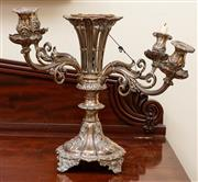 Sale 8882H - Lot 36 - A William IV Sheffield plate centrepiece with pierced central trumpet and four removable sconces (one af), Height 41cm