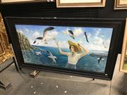Sale 9045 - Lot 2028 - Stephen Fuller (British), Woman and Seagulls, 1996, oil onboard, 58.5 x 113.5cm, signed lower right