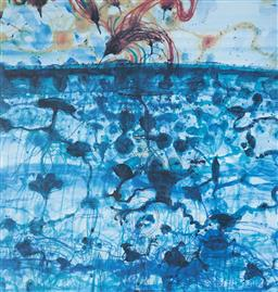 Sale 9112A - Lot 5020 - John Olsen (1928 - ) - Sunbird & Lily Pond, 1997 64 x 61.5 cm (frame: 93 x 84 x 4 cm)