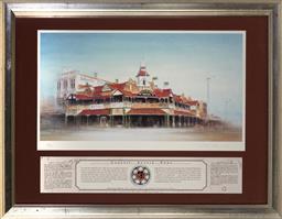 Sale 9113 - Lot 2068 - Rex Newell (1939 - 2016) - Exchange Hotel, Kalgoorlie, WA 22 x 42 cm (frame: 46 x 58 x 2 cm)