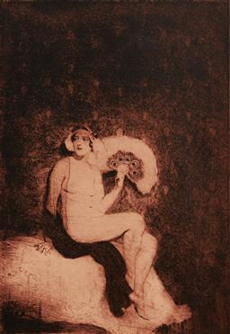Sale 9161A - Lot 5071 - NORMAN LINDSAY (1879 - 1969) - The Fan 28 x 19.5 cm (frame: 60 x 50 x 4 cm)