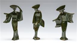Sale 9138 - Lot 60 - A Set Of Three Japanese Metal Figures (H: 18cm)