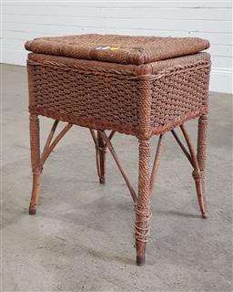 Sale 9191 - Lot 1081 - Wicker lift top side table (h56 x w43 x d35cm)