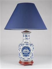 Sale 8350L - Lot 5 - A pair of blue and white baluster lamps with navy shades, total H 56cm, RRP $ 580