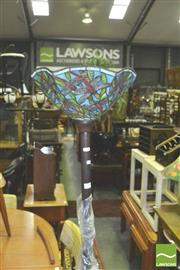 Sale 8371 - Lot 1038 - Leadlight Shade Standard Up Lamp Depicting Dragonflies