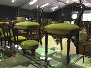 Sale 8412 - Lot 1089 - Pair of Balloon Back Chairs with Matching Upholstered Footsool