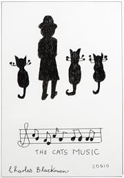 Sale 8738 - Lot 526 - Charles Blackman (1928 - 2018) - The Cats Music, 2010 35 x 23.5cm (frame: 65.5 x 54cm)