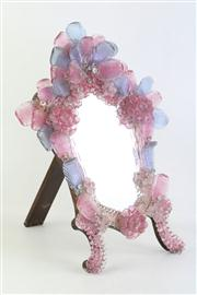 Sale 8818 - Lot 28 - Mid Century Pink And Purple Glass Venetian Mirror L:55cm