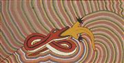 Sale 8878 - Lot 2038 - Ivan Bumblebee - The King Brown & The Goanna 61 x 105 cm (framed and ready to hang)