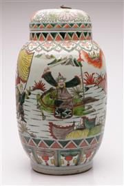 Sale 9057 - Lot 53 - A Large Famille Verte Ginger Jar H: 45cm
