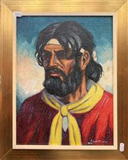 Sale 9072 - Lot 2092 - Artrist Unknown, Portait of Spannish Nomad, oil on board, fram,e: 40 x 50 cm, signed lower right