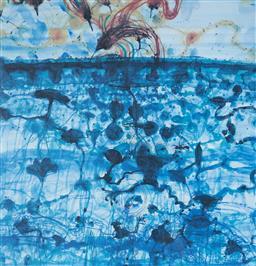 Sale 9112A - Lot 5040 - John Olsen (1928 - ) - Sunbird & Lily Pond, 1997 64 x 61.5 cm (frame: 93 x 84 x 4 cm)