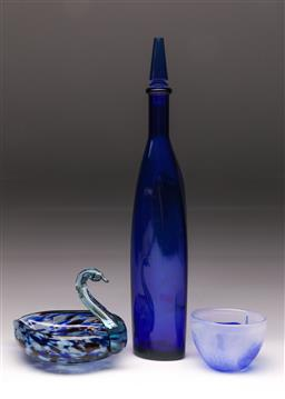 Sale 9114 - Lot 83 - An Art Glass Swan Dish (H 13cm) Together with Bowl and Blue Glass Decanter (H 43cm)