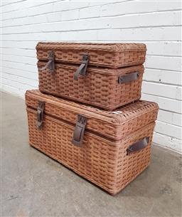 Sale 9121 - Lot 1067 - Pair of graduating picnic hampers (h:38 w:76 d:41cm)