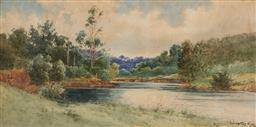 Sale 9161A - Lot 5063 - GLADSTONE EYRE (1863 - 1933) The River Bend, Sketch watercolour 36 x 73 cm (frame: 75 x 110 x 4 cm) signed lower right