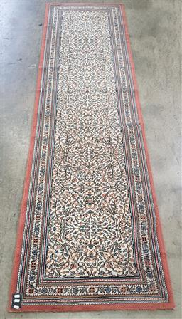 Sale 9191 - Lot 1090 - Persian pink, blue and cream tone hall runner (296cm x 80cm)