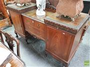 Sale 8416 - Lot 1088 - Georgian Inspired Maple Breakfront Sideboard, the bold acanthus frieze with concealed drawers, two further drawers & two doors below...
