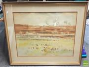 Sale 8413T - Lot 2042 - Framed Watercolour of a Landscape, signed Brian Stratton