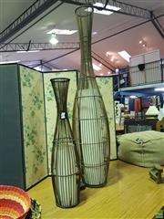 Sale 8611 - Lot 1093 - Two Wicker Shade Floor Lamps