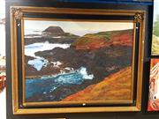 Sale 8686 - Lot 2055 - Artist Unknown - Coastal Landscape, acrylic on canvas, 113 x 143cm (frame) signed lower right