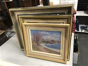 Sale 8819 - Lot 2166 - 3 Works:  Mary Cullinan Waterfront Scenes, oil on board, each signed