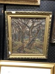Sale 8861 - Lot 2042 - Russian School - Forest, oil on board, 37 x 34cm, inscribed and label verso.