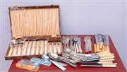 Sale 8891H - Lot 41 - A six piece cased EP fish setting with xylonite handles together with a large quantity of EP cutlery