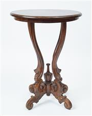 Sale 9080J - Lot 35 - A circular vintage mahogany lamp table raised on 4 shaped supports above 4 scrolling legs with knurled terminals.  Ht: 75cm x D: 55cm