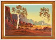 Sale 8325 - Lot 592 - Henk Guth (1921 - ) - Australian Outback Landscape 38.5 x 58.5cm