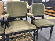 Sale 8740 - Lot 1034 - Set of Ten 19th Century French Chairs, ebonised with padded backs & green velvet seats, raised on turned legs (some upholstery distr...