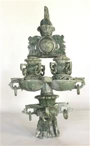 Sale 9015G - Lot 83 - Carved Green Stone Incense Burner, Consist of 5 Parts General Wear, Size 42cm H