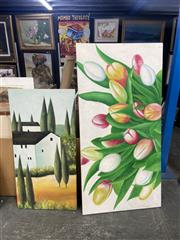Sale 9028 - Lot 2077 - A Contemporary Acrylic Painting of Tulips together with another Painting depicting a Tuscan Scene,  80 x 160cm; 121 x 60cm