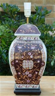 Sale 9066H - Lot 117 - A ceramic squared baluster table lamp with chinoiserie decoration.